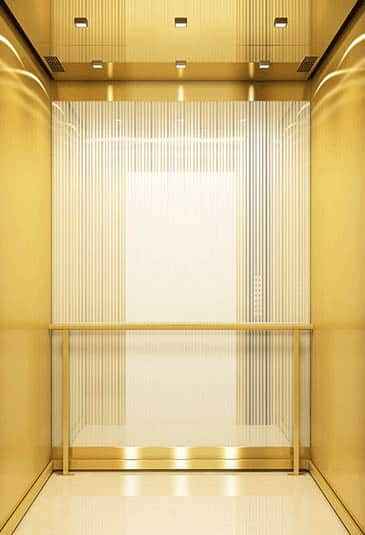 KONE Highrise MiniSpace ™ elevator with New Luxury style white and gold interior
